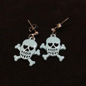Blue Skull and Crossbones Earrings